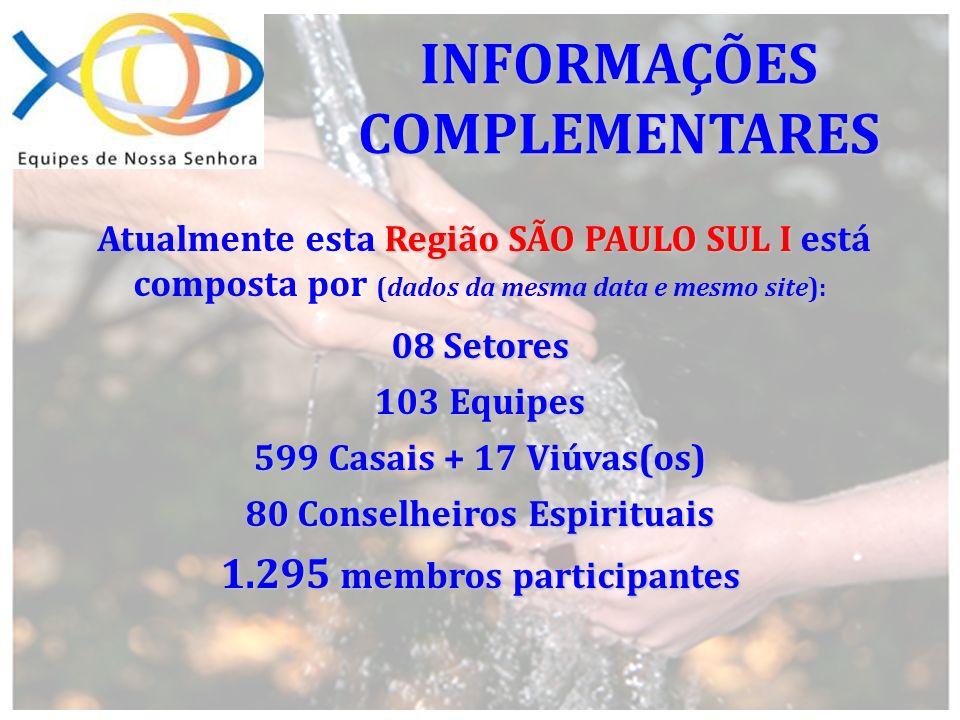 Região SÃO PAULO SUL I Atualmente esta Região SÃO PAULO SUL I está composta por (dados da mesma data e mesmo site): 08 Setores 103 Equipes 599 Casais