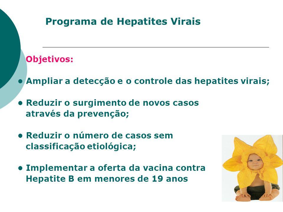Programa de Hepatites Virais Objetivos: Ampliar a detecção e o controle das hepatites virais; Reduzir o surgimento de novos casos através da prevenção