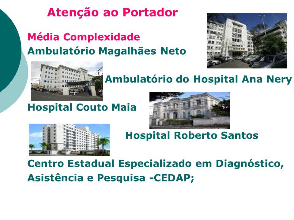 Atenção ao Portador Média Complexidade Ambulatório Magalhães Neto Ambulatório do Hospital Ana Nery Hospital Couto Maia Hospital Roberto Santos Centro