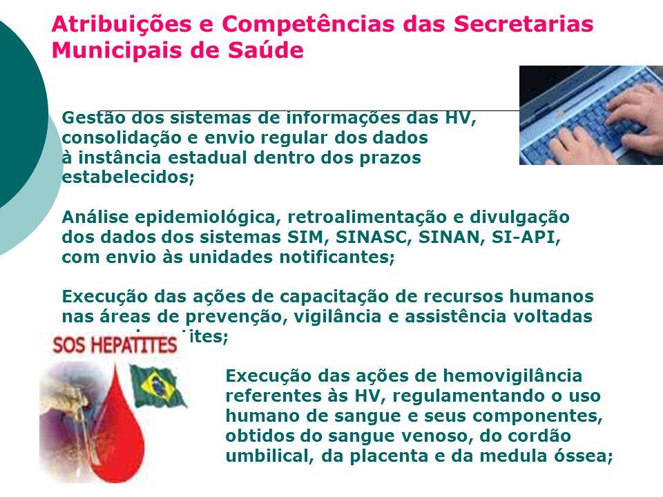 Atribuições e Competências das Secretarias Municipais de Saúde Gestão dos sistemas de informações das HV, consolidação e envio regular dos dados à ins