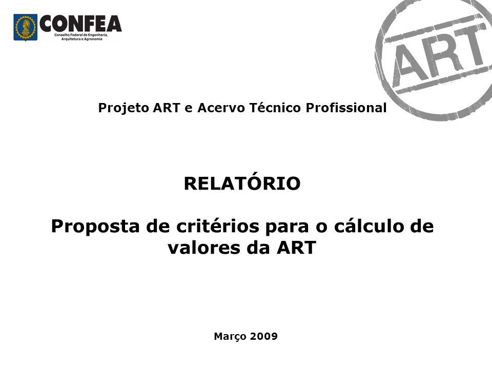 Projeto ART e Acervo Técnico Profissional RELATÓRIO Proposta de critérios para o cálculo de valores da ART Março 2009