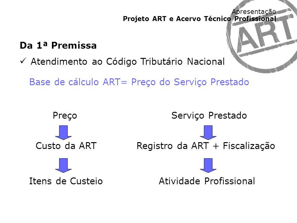 Apresentação Projeto ART e Acervo Técnico Profissional Da 1ª Premissa Atendimento ao Código Tributário Nacional Base de cálculo ART= Preço do Serviço