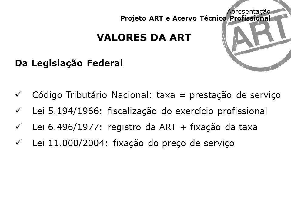 Apresentação Projeto ART e Acervo Técnico Profissional VALORES DA ART Da Legislação Federal Código Tributário Nacional: taxa = prestação de serviço Le