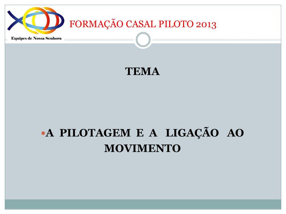 FORMAÇÃO CASAL PILOTO 2013 TEMA A PILOTAGEM E A LIGAÇÃO AO MOVIMENTO