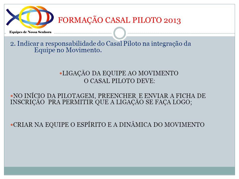 FORMAÇÃO CASAL PILOTO 2013 2. Indicar a responsabilidade do Casal Piloto na integração da Equipe no Movimento. LIGAÇÃO DA EQUIPE AO MOVIMENTO O CASAL