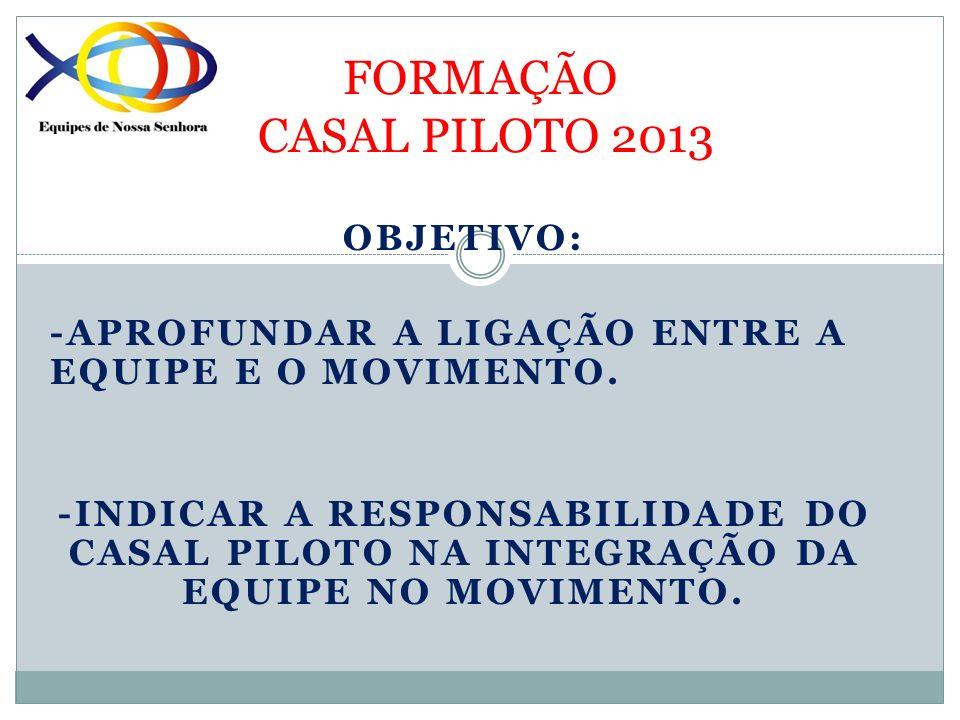 FORMAÇÃO CASAL PILOTO 2013 LIGAÇÃO DA EQUIPE AO MOVIMENTO O CASAL PILOTO DEVE: INTRODUZIR NA EQUIPE O CONCEITO DE LIGAÇÃO NOS DOIS SENTIDOS: EQUIPE SETOR INTEGRAR GRADUALMENTE A EQUIPE NO MOVIMENTO PELA PARTICIPAÇÃO PROGRESSIVA DOS CASAIS NAS ATIVIDADES