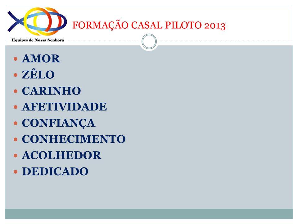 FORMAÇÃO CASAL PILOTO 2013 AMOR ZÊLO CARINHO AFETIVIDADE CONFIANÇA CONHECIMENTO ACOLHEDOR DEDICADO