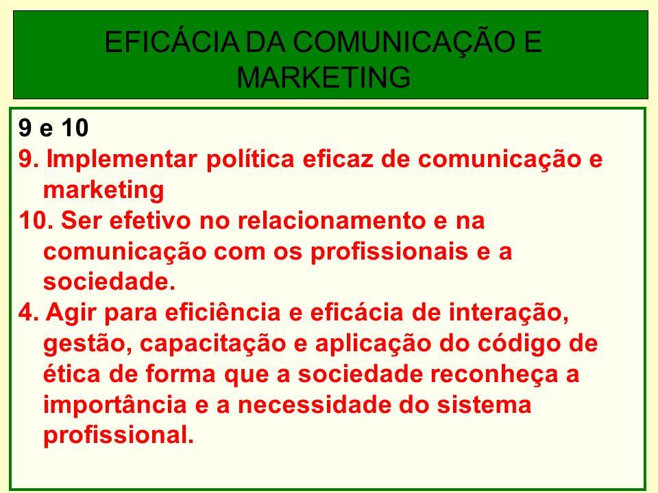 9 e 10 9. Implementar política eficaz de comunicação e marketing 10.