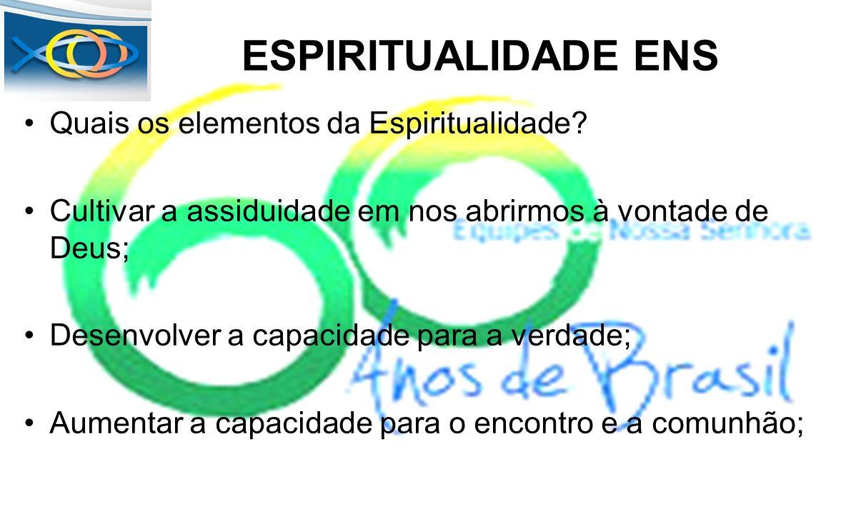 ESPIRITUALIDADE ENS Quais os elementos da Espiritualidade? Cultivar a assiduidade em nos abrirmos à vontade de Deus; Desenvolver a capacidade para a v