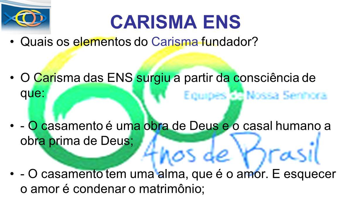 CARISMA ENS Quais os elementos do Carisma fundador? O Carisma das ENS surgiu a partir da consciência de que: - O casamento é uma obra de Deus e o casa