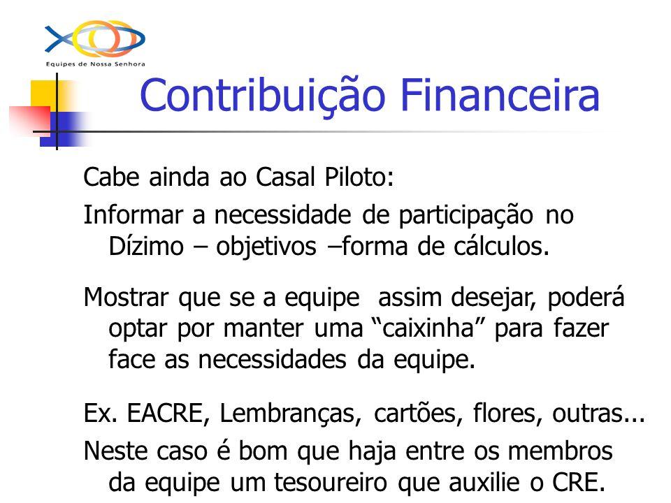 Contribuição Financeira Cabe ainda ao Casal Piloto: Informar a necessidade de participação no Dízimo – objetivos –forma de cálculos. Mostrar que se a