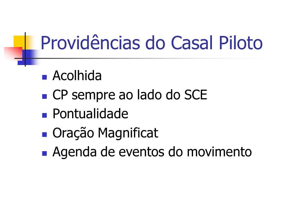 Providências do Casal Piloto Acolhida CP sempre ao lado do SCE Pontualidade Oração Magnificat Agenda de eventos do movimento