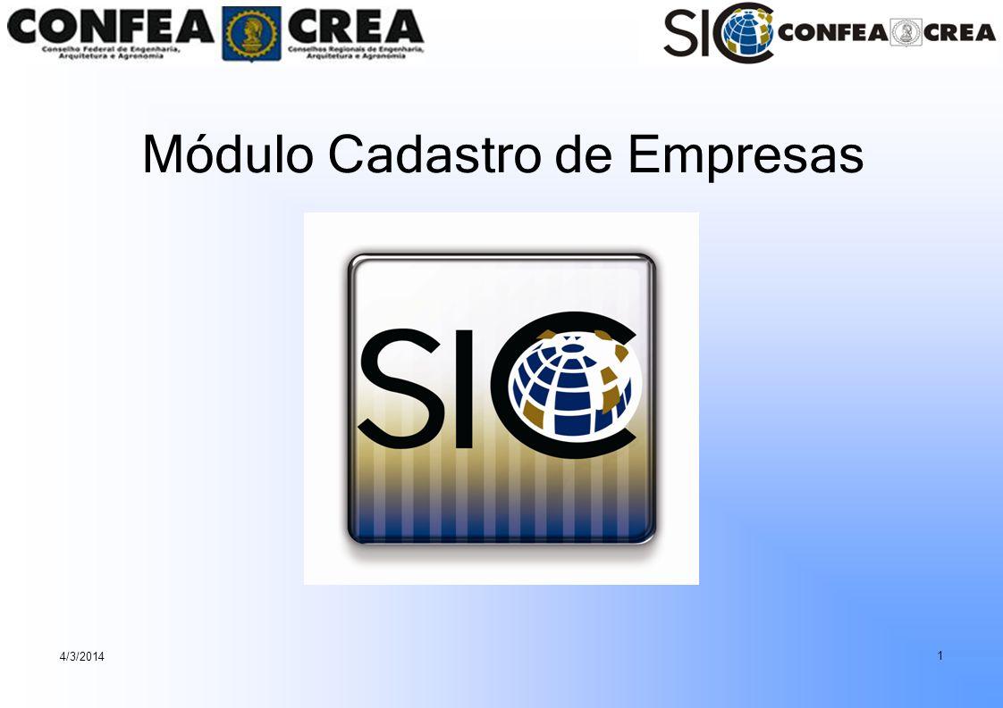 4/3/2014 1 Módulo Cadastro de Empresas