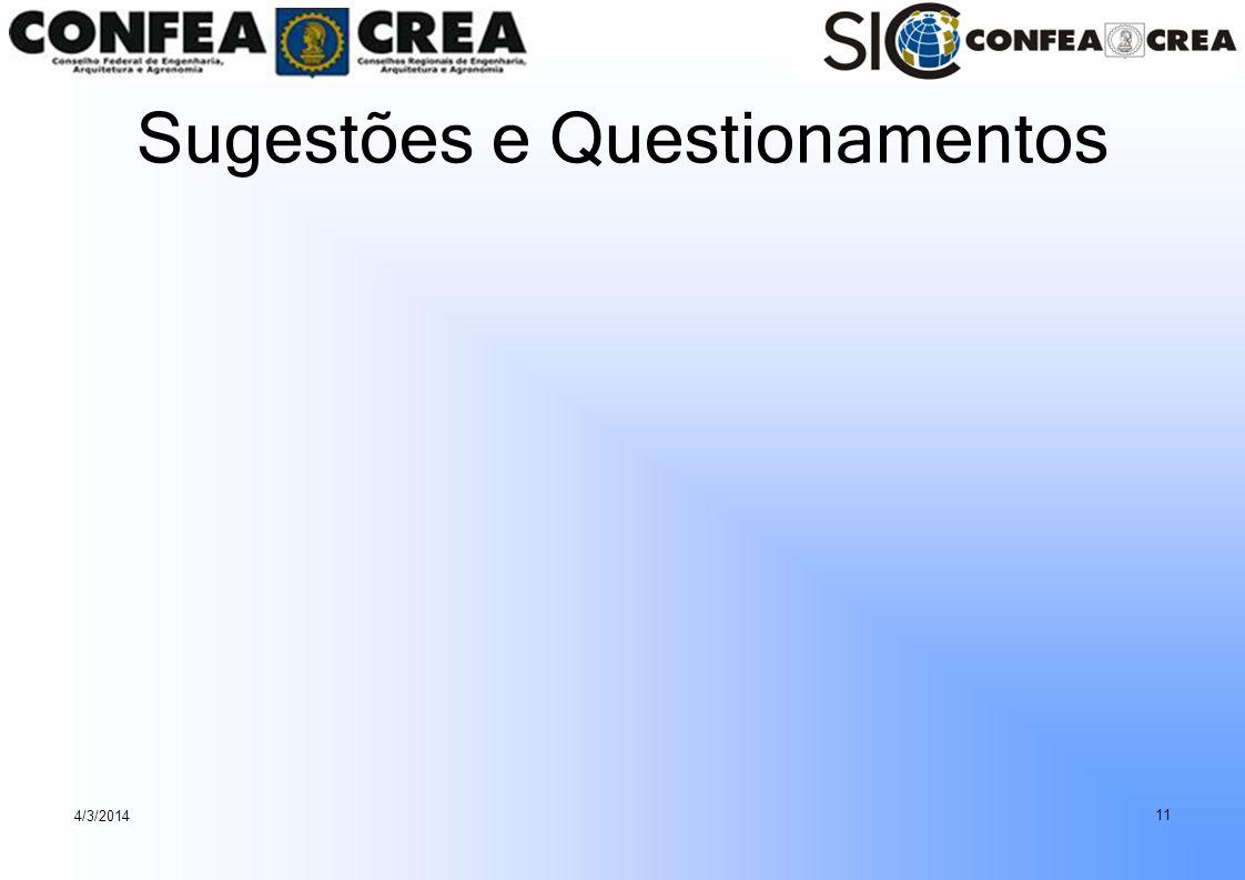 Sugestões e Questionamentos 4/3/2014 11
