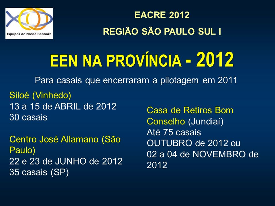 EACRE 2012 REGIÃO SÃO PAULO SUL I EEN NA PROVÍNCIA - 2012 Para casais que encerraram a pilotagem em 2011 Siloé (Vinhedo) 13 a 15 de ABRIL de 2012 30 casais Centro José Allamano (São Paulo) 22 e 23 de JUNHO de 2012 35 casais (SP) Casa de Retiros Bom Conselho (Jundiaí) Até 75 casais OUTUBRO de 2012 ou 02 a 04 de NOVEMBRO de 2012