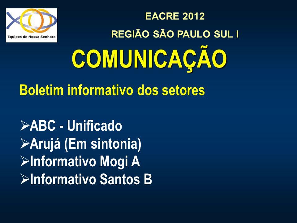 EACRE 2012 REGIÃO SÃO PAULO SUL I COMUNICAÇÃO Boletim informativo dos setores ABC - Unificado Arujá (Em sintonia) Informativo Mogi A Informativo Santos B