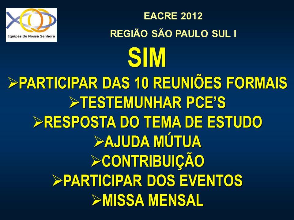 EACRE 2012 REGIÃO SÃO PAULO SUL I SIM PARTICIPAR DAS 10 REUNIÕES FORMAIS PARTICIPAR DAS 10 REUNIÕES FORMAIS TESTEMUNHAR PCES TESTEMUNHAR PCES RESPOSTA DO TEMA DE ESTUDO RESPOSTA DO TEMA DE ESTUDO AJUDA MÚTUA AJUDA MÚTUA CONTRIBUIÇÃO CONTRIBUIÇÃO PARTICIPAR DOS EVENTOS PARTICIPAR DOS EVENTOS MISSA MENSAL MISSA MENSAL