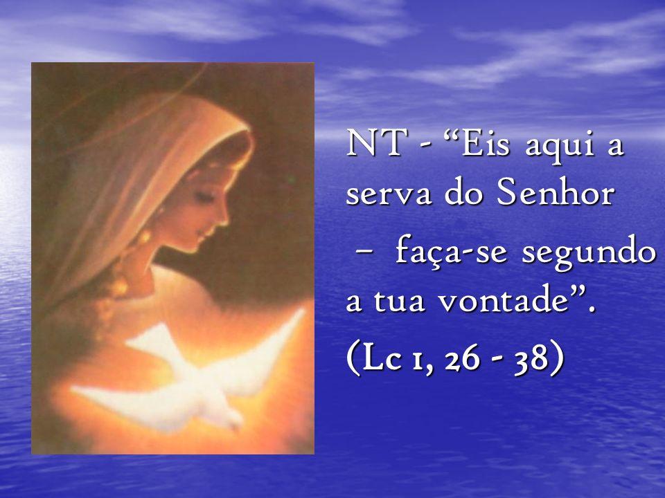 NT - Eis aqui a serva do Senhor – faça-se segundo a tua vontade. – faça-se segundo a tua vontade. (Lc 1, 26 - 38)