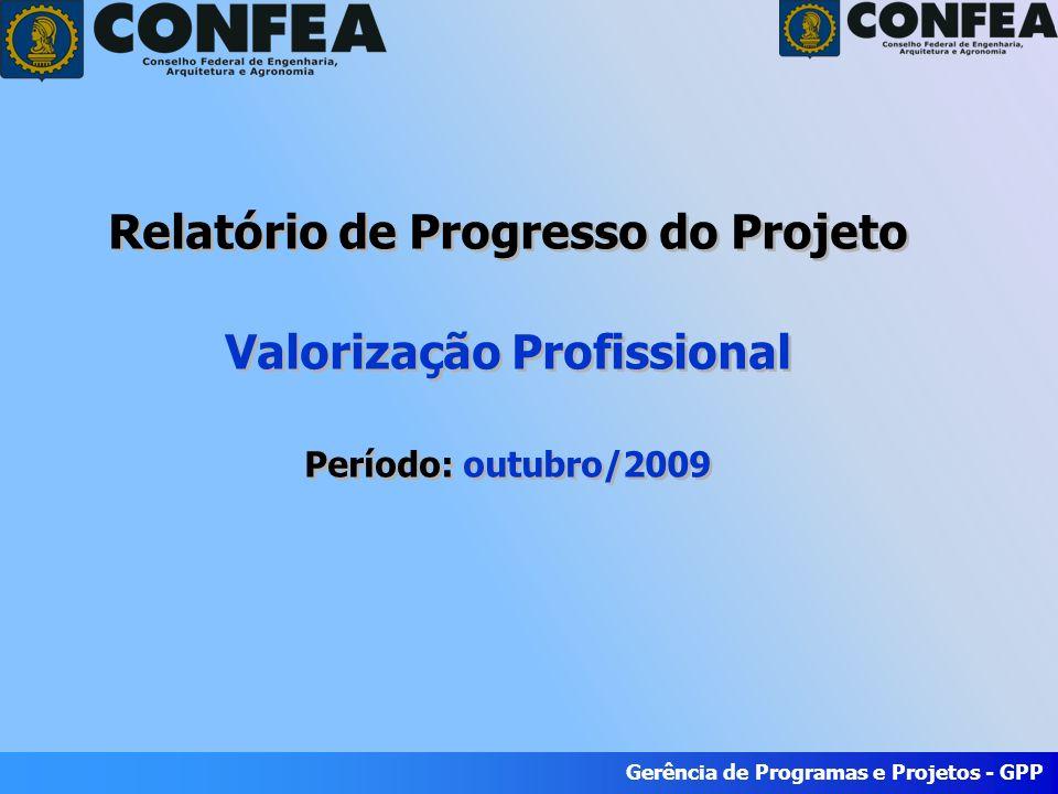 Gerência de Programas e Projetos - GPP Período: Julho/2009 Gerência de Programas e Projetos - GPP Relatório de Progresso do Projeto Valorização Profissional Período: outubro/2009