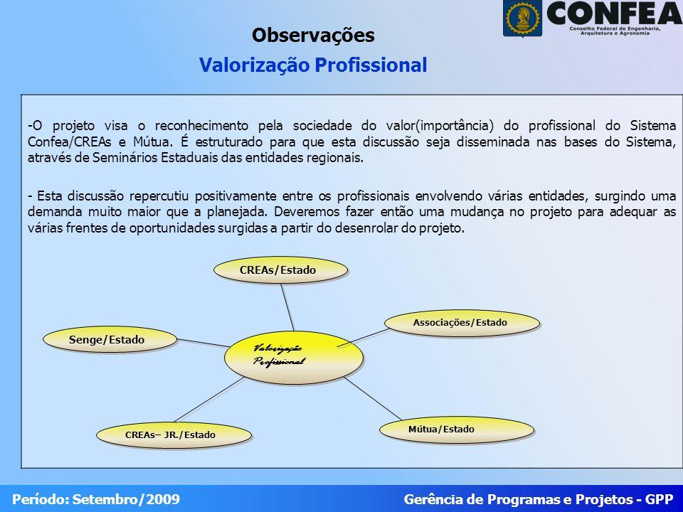 Gerência de Programas e Projetos - GPP Período: Setembro/2009 -O projeto visa o reconhecimento pela sociedade do valor(importância) do profissional do Sistema Confea/CREAs e Mútua.
