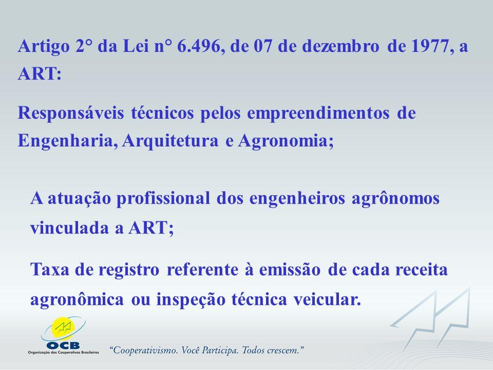 Artigo 2° da Lei n° 6.496, de 07 de dezembro de 1977, a ART: Responsáveis técnicos pelos empreendimentos de Engenharia, Arquitetura e Agronomia; A atu