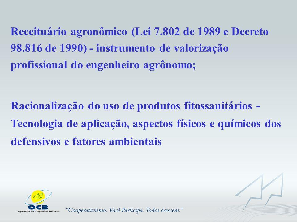 Receituário agronômico (Lei 7.802 de 1989 e Decreto 98.816 de 1990) - instrumento de valorização profissional do engenheiro agrônomo; Racionalização d