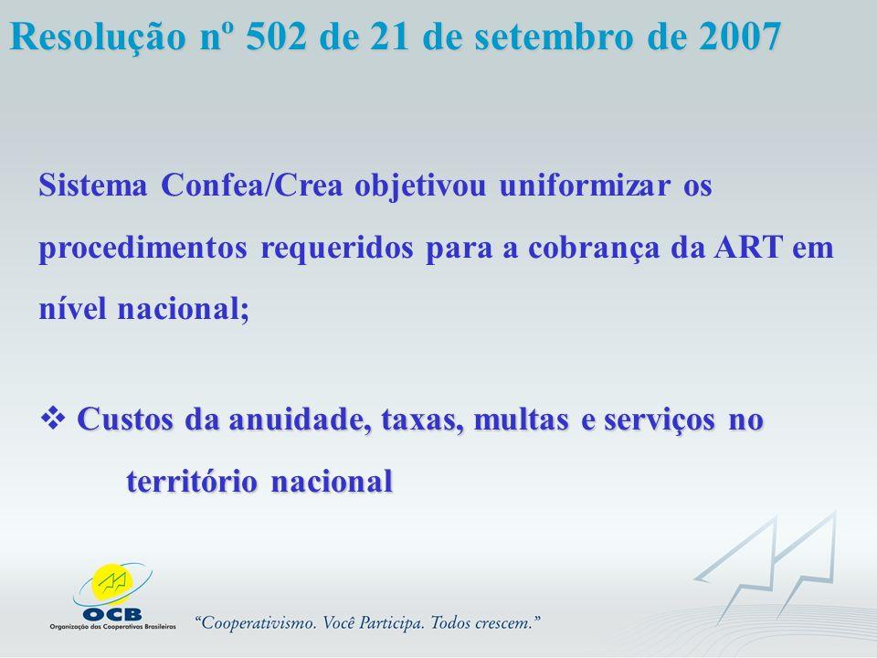 Resolução nº 502 de 21 de setembro de 2007 Sistema Confea/Crea objetivou uniformizar os procedimentos requeridos para a cobrança da ART em nível nacio