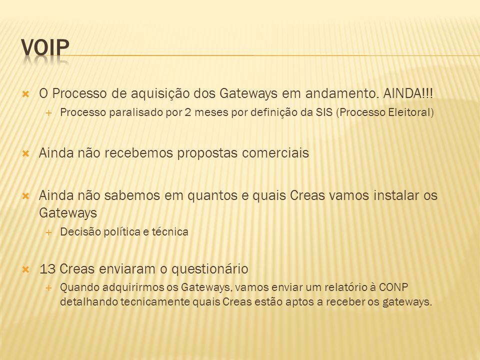O Processo de aquisição dos Gateways em andamento.