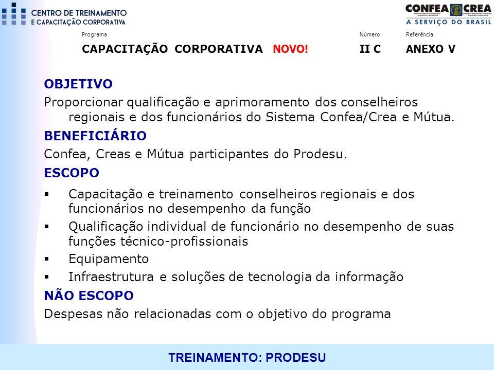 TREINAMENTO: PRODESU OBJETIVO Proporcionar qualificação e aprimoramento dos conselheiros regionais e dos funcionários do Sistema Confea/Crea e Mútua.