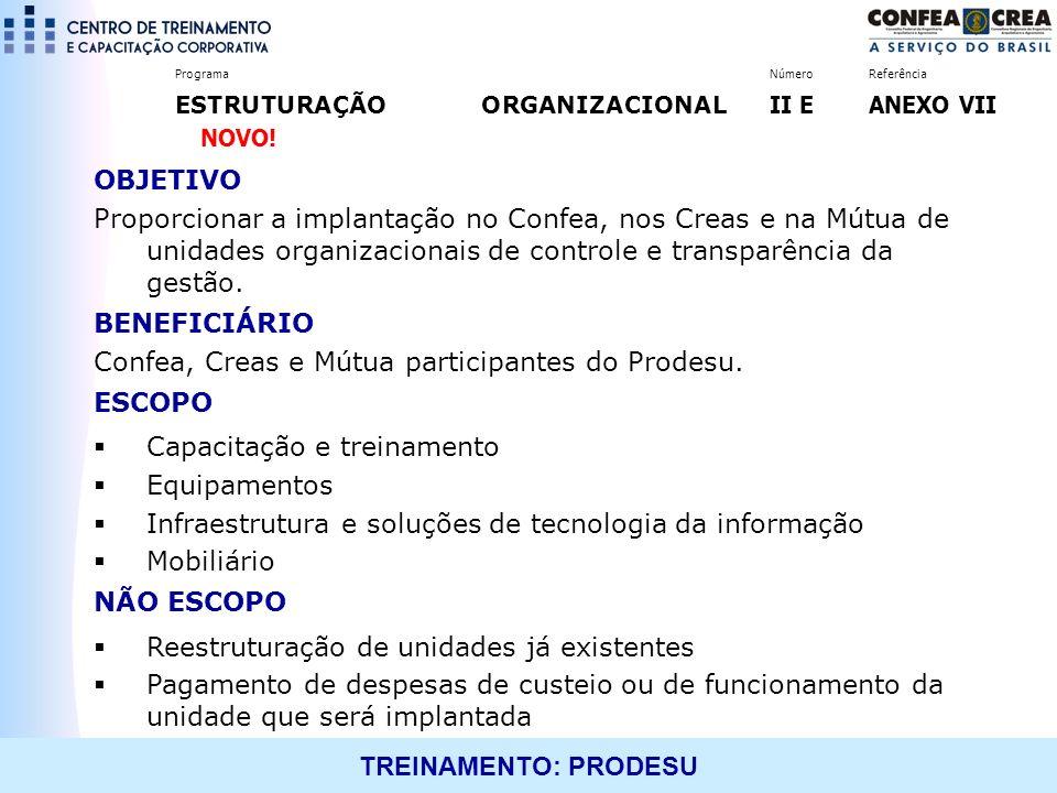 TREINAMENTO: PRODESU OBJETIVO Proporcionar a implantação no Confea, nos Creas e na Mútua de unidades organizacionais de controle e transparência da ge