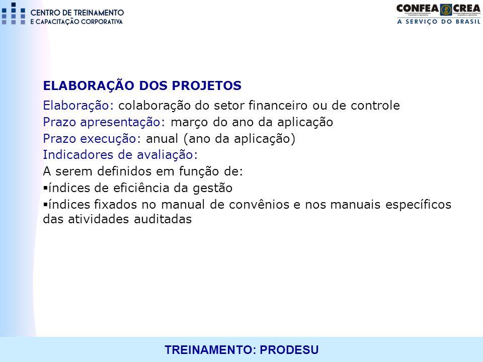 TREINAMENTO: PRODESU ELABORAÇÃO DOS PROJETOS Elaboração: colaboração do setor financeiro ou de controle Prazo apresentação: março do ano da aplicação
