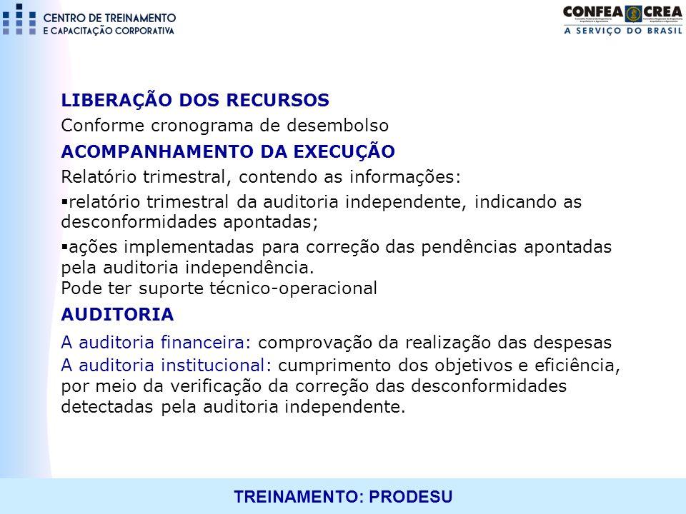 TREINAMENTO: PRODESU LIBERAÇÃO DOS RECURSOS Conforme cronograma de desembolso ACOMPANHAMENTO DA EXECUÇÃO Relatório trimestral, contendo as informações