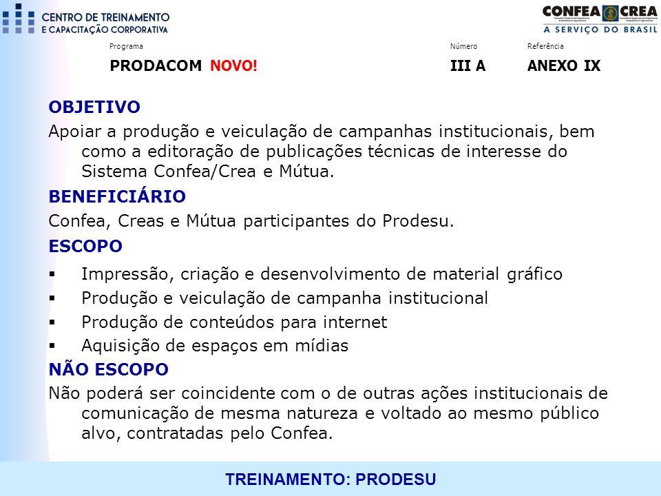 TREINAMENTO: PRODESU OBJETIVO Apoiar a produção e veiculação de campanhas institucionais, bem como a editoração de publicações técnicas de interesse d