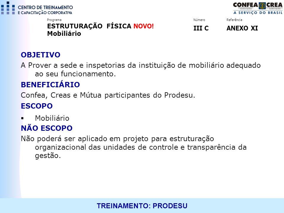 TREINAMENTO: PRODESU OBJETIVO A Prover a sede e inspetorias da instituição de mobiliário adequado ao seu funcionamento. BENEFICIÁRIO Confea, Creas e M