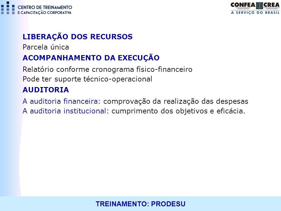 TREINAMENTO: PRODESU LIBERAÇÃO DOS RECURSOS Parcela única ACOMPANHAMENTO DA EXECUÇÃO Relatório conforme cronograma físico-financeiro Pode ter suporte