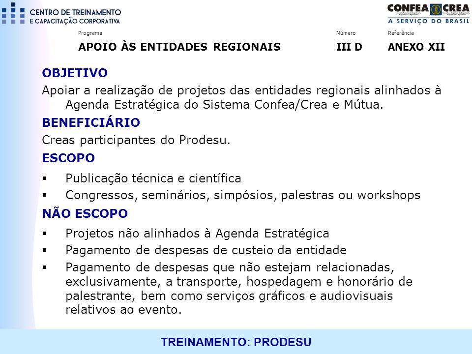 TREINAMENTO: PRODESU OBJETIVO Apoiar a realização de projetos das entidades regionais alinhados à Agenda Estratégica do Sistema Confea/Crea e Mútua. B