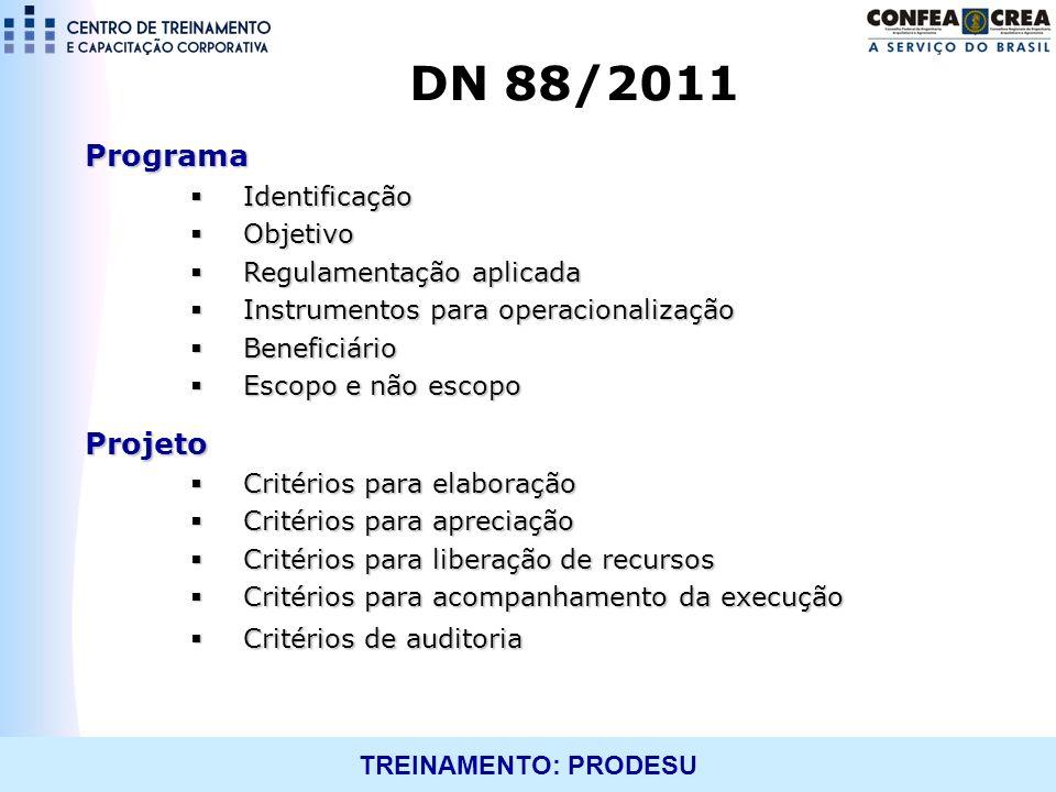 TREINAMENTO: PRODESU Programa Identificação Identificação Objetivo Objetivo Regulamentação aplicada Regulamentação aplicada Instrumentos para operacio
