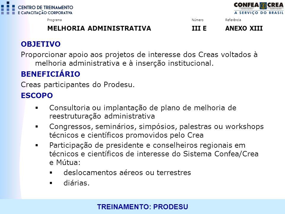 TREINAMENTO: PRODESU OBJETIVO Proporcionar apoio aos projetos de interesse dos Creas voltados à melhoria administrativa e à inserção institucional. BE