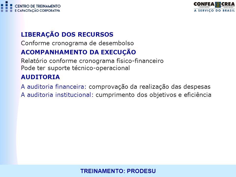 TREINAMENTO: PRODESU LIBERAÇÃO DOS RECURSOS Conforme cronograma de desembolso ACOMPANHAMENTO DA EXECUÇÃO Relatório conforme cronograma físico-financei