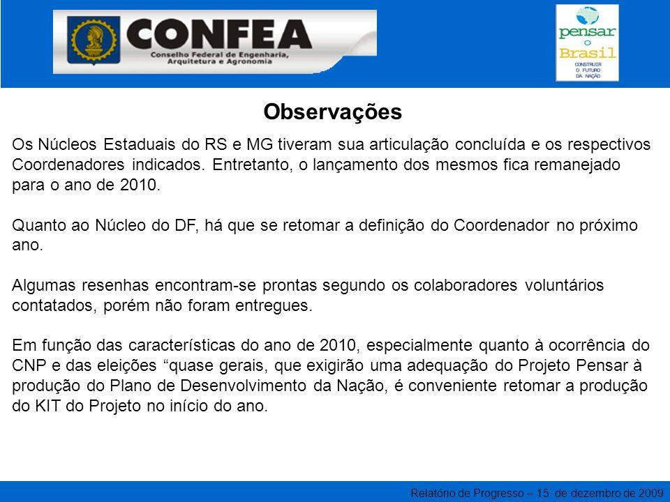 Relatório de Progresso – 15 de dezembro de 2009 Coordenador Nacional Eng.