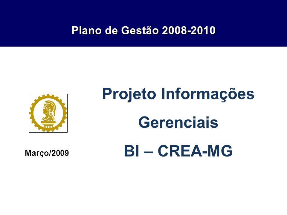 Plano de Gestão 2008-2010 Março/2009 Projeto Informações Gerenciais BI – CREA-MG