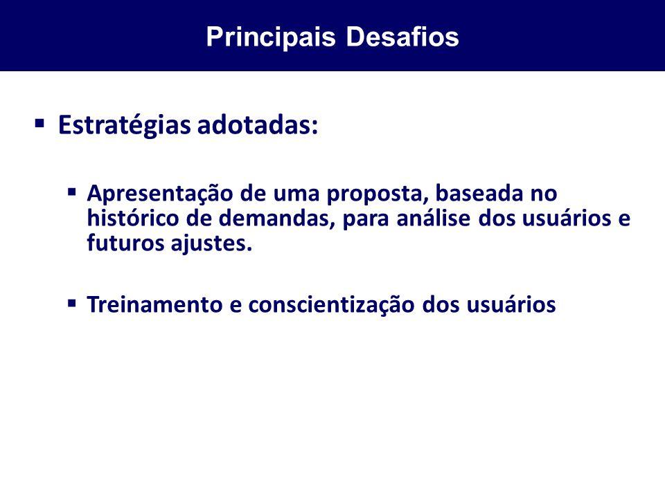 Principais Desafios Estratégias adotadas: Apresentação de uma proposta, baseada no histórico de demandas, para análise dos usuários e futuros ajustes.