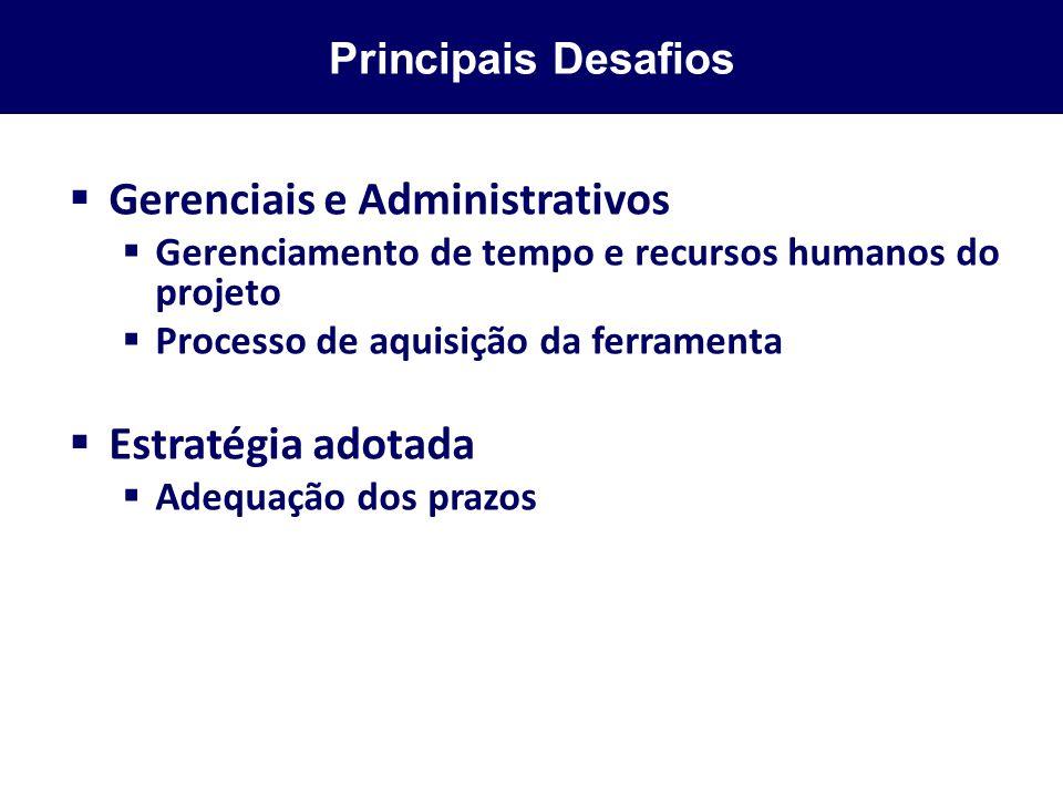 Principais Desafios Gerenciais e Administrativos Gerenciamento de tempo e recursos humanos do projeto Processo de aquisição da ferramenta Estratégia a