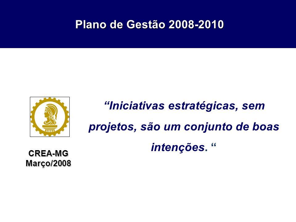 Plano de Gestão 2008-2010 Plano de Gestão 2008-2010 CREA-MGMarço/2008 Iniciativas estratégicas, sem projetos, são um conjunto de boas intenções.