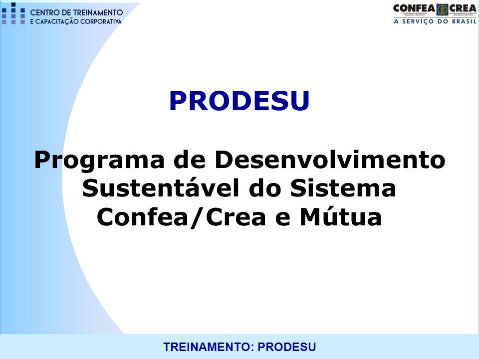 TREINAMENTO: PRODESU PRODESU Histórico 2008 e 2009 Projeto de Gestão Sustentável dos Creas 2010 Resolução 1.030/2010 2011RegulamentaçãoOperacionalizaçãoImplantação