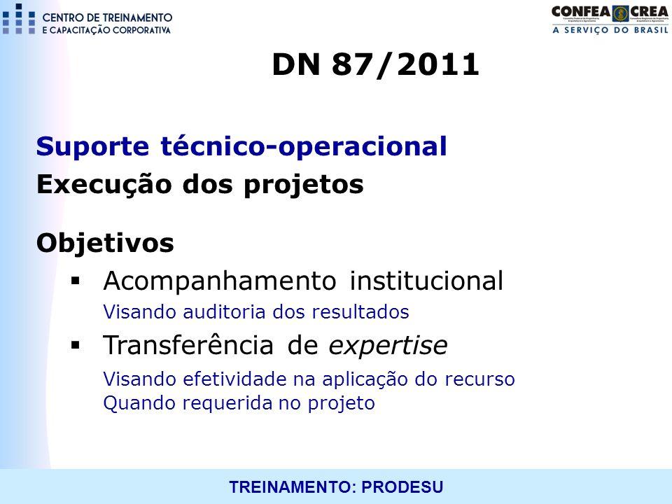 TREINAMENTO: PRODESU Suporte técnico-operacional Execução dos projetos Objetivos Acompanhamento institucional Visando auditoria dos resultados Transfe