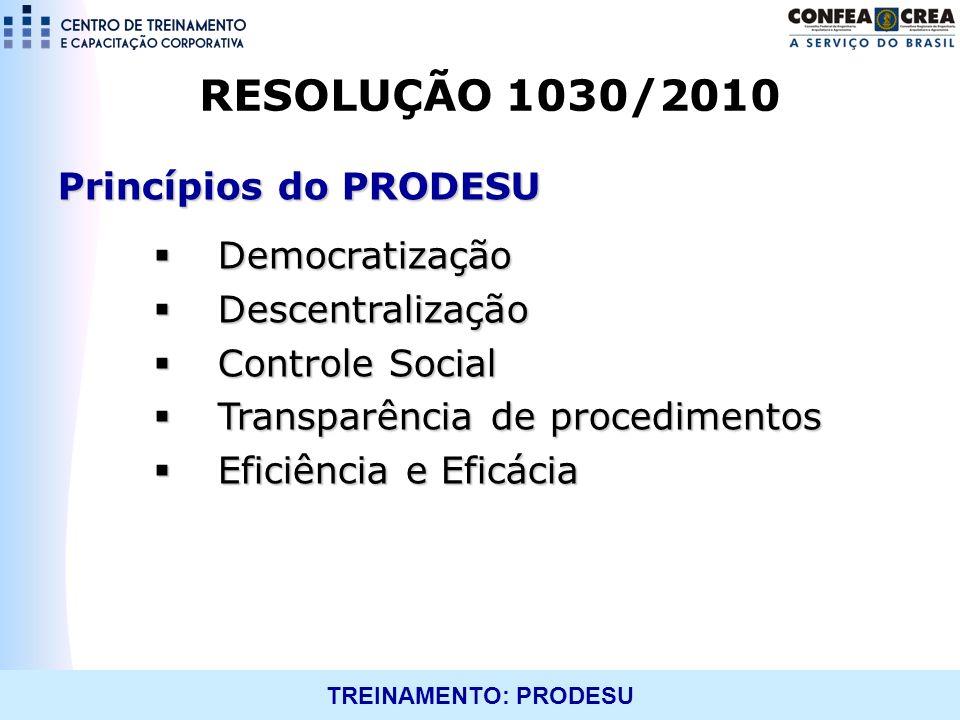 TREINAMENTO: PRODESU RESOLUÇÃO 1030/2010 Princípios do PRODESU Democratização Democratização Descentralização Descentralização Controle Social Control
