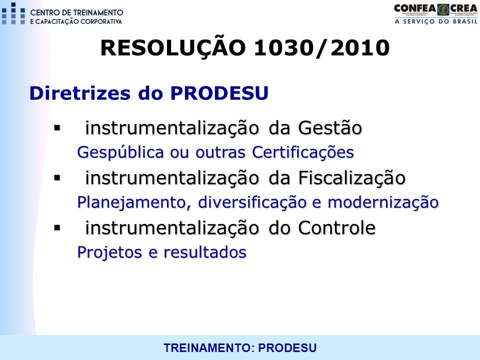 TREINAMENTO: PRODESU RESOLUÇÃO 1030/2010 Diretrizes do PRODESU instrumentalização da Gestão instrumentalização da Gestão Gespública ou outras Certific