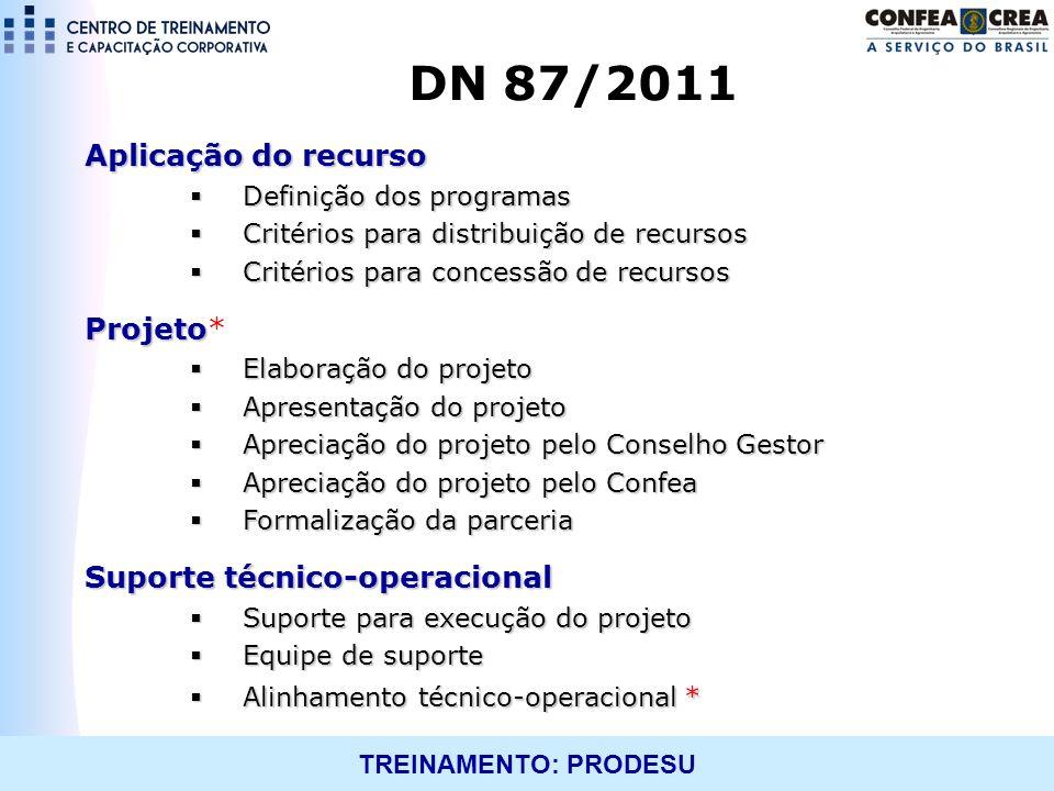 TREINAMENTO: PRODESU Aplicação do recurso Definição dos programas Definição dos programas Critérios para distribuição de recursos Critérios para distr