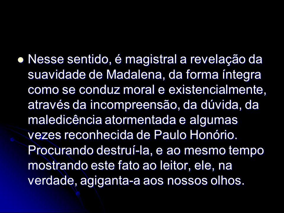 Nesse sentido, é magistral a revelação da suavidade de Madalena, da forma íntegra como se conduz moral e existencialmente, através da incompreensão, d